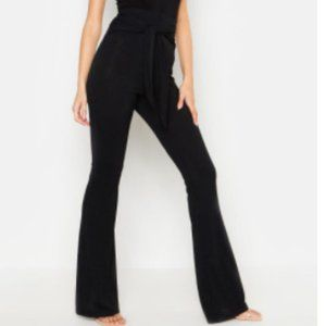 Tie Front Ribbed Flared Trousers --Boohoo